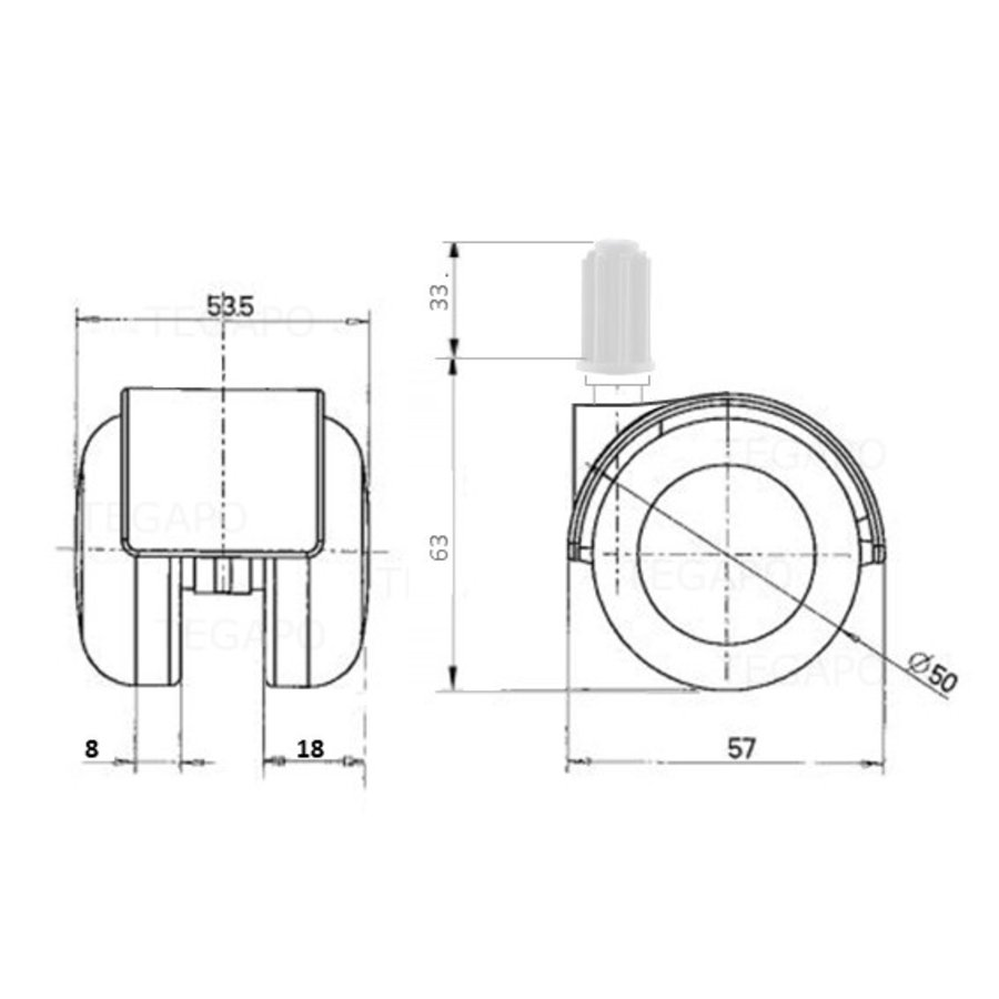 PPTP luxe wiel 50mm plug 17mm
