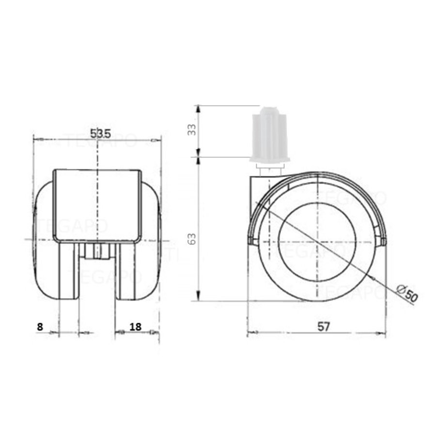 PPTP luxe wiel 50mm plug vierkant 16mm