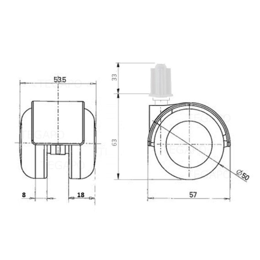 PPTP luxe wiel 50mm plug vierkant 22mm