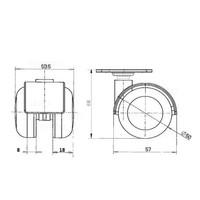 PPTP wiel 50mm plaat 30x30mm
