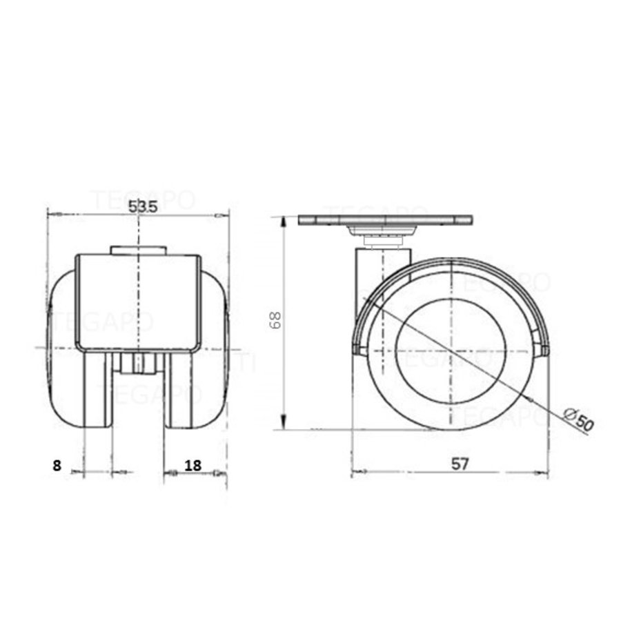 PPTP wiel 50mm plaat 38x38mm