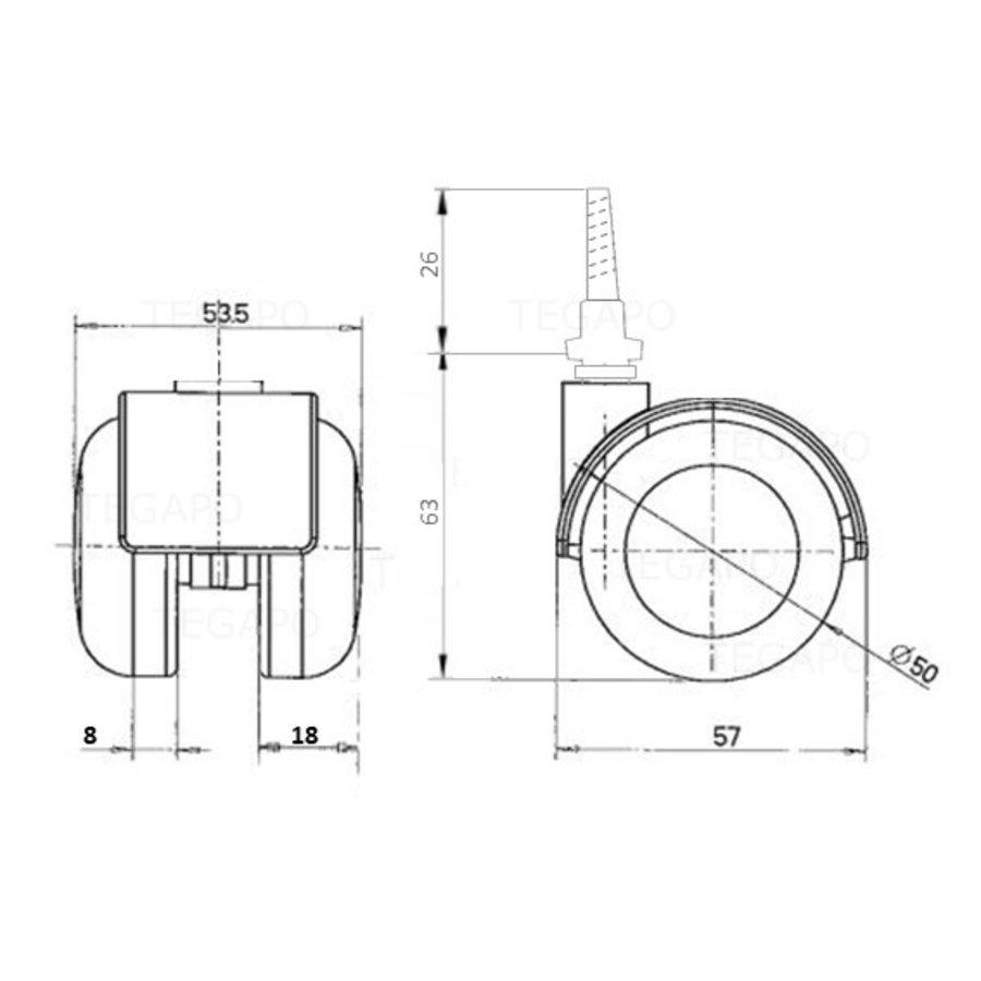 PPTP wiel 50mm schroef 7x42mm