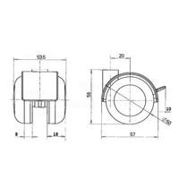 PPTP wiel 50mm met rem