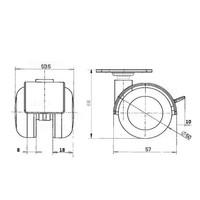 PPTP wiel 50mm plaat 30x30mm met rem