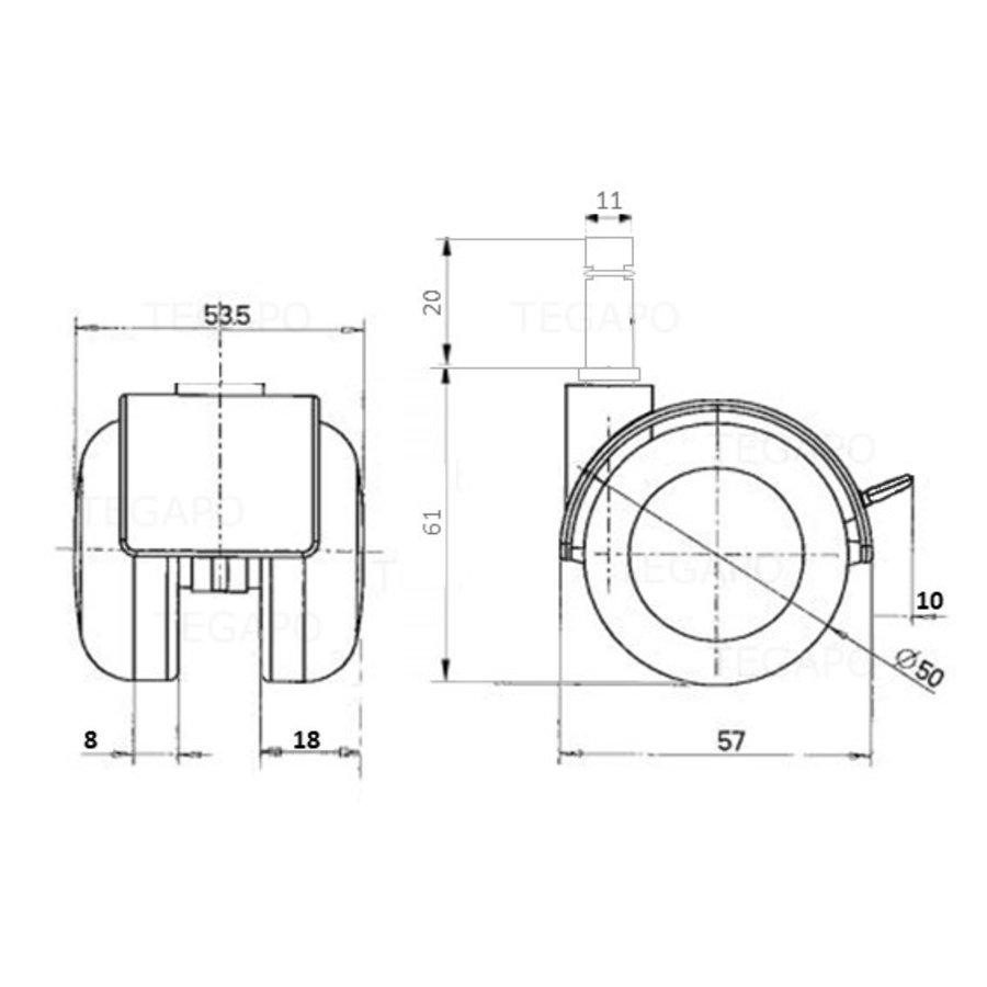 PPTP wiel 50mm stift 11mm met rem