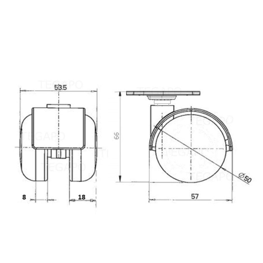 PP wiel 50mm plaat 38x38mm