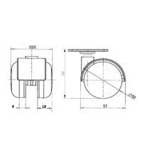PP wiel 50mm plaat 42x42mm
