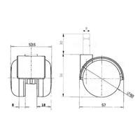 PP chrome wiel 50mm stift 8mm
