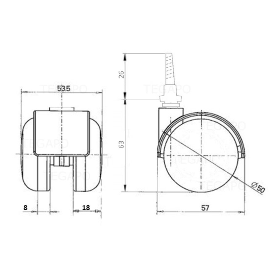 PP chrome wiel 50mm schroef 7x42