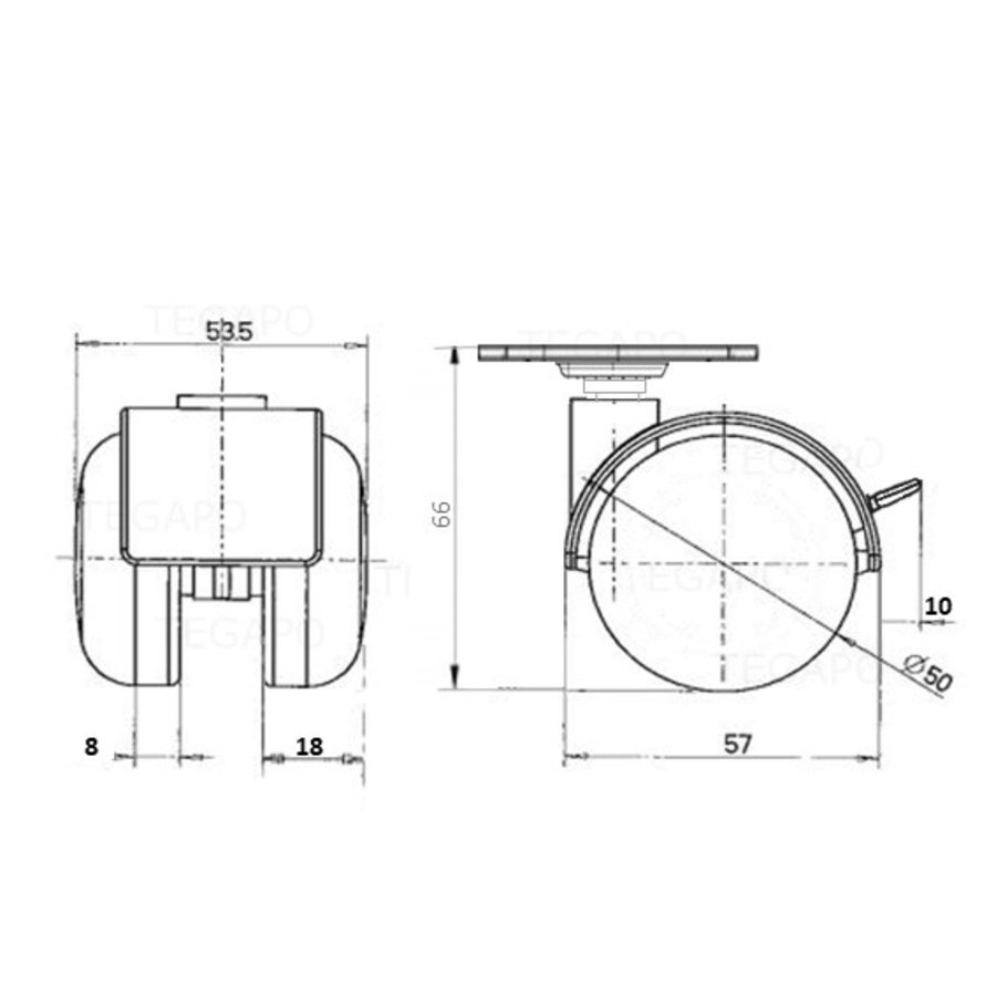 PP chrome wiel 50mm plaat 30x30mm met rem
