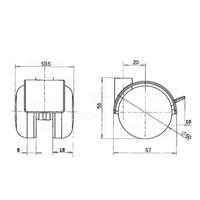 PP chrome wiel 50mm met rem