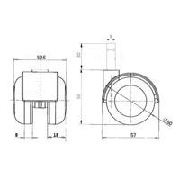 PPTP chrome wiel 50mm stift 8mm