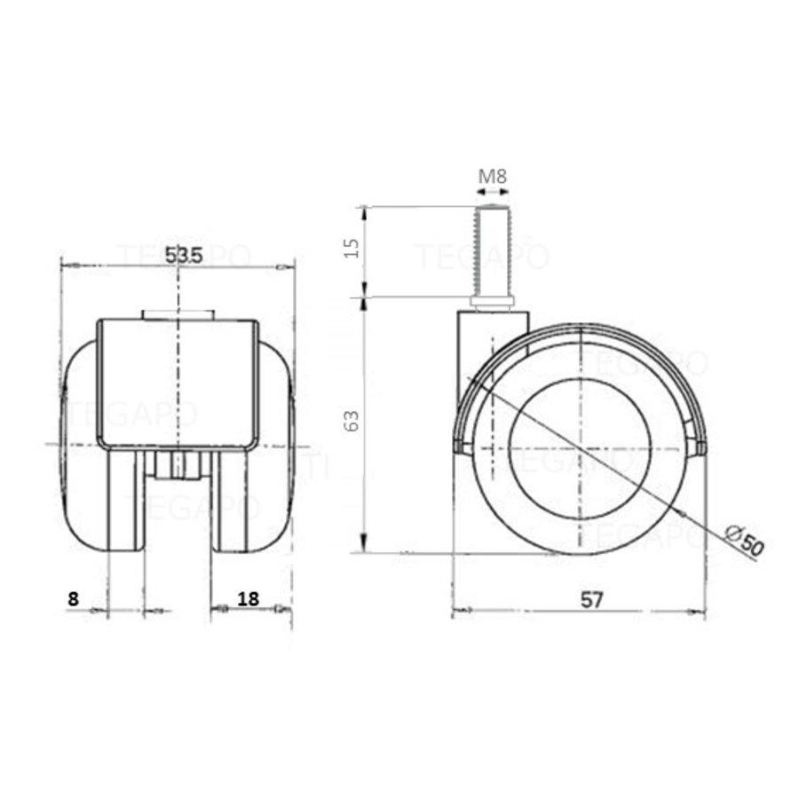 PPTP chrome wiel 50mm bout M8x15