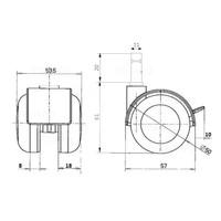 PPTP chrome wiel 50mm stift 11mm met rem