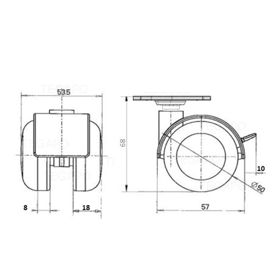 PPTP chrome wiel 50mm plaat 30x30mm met rem