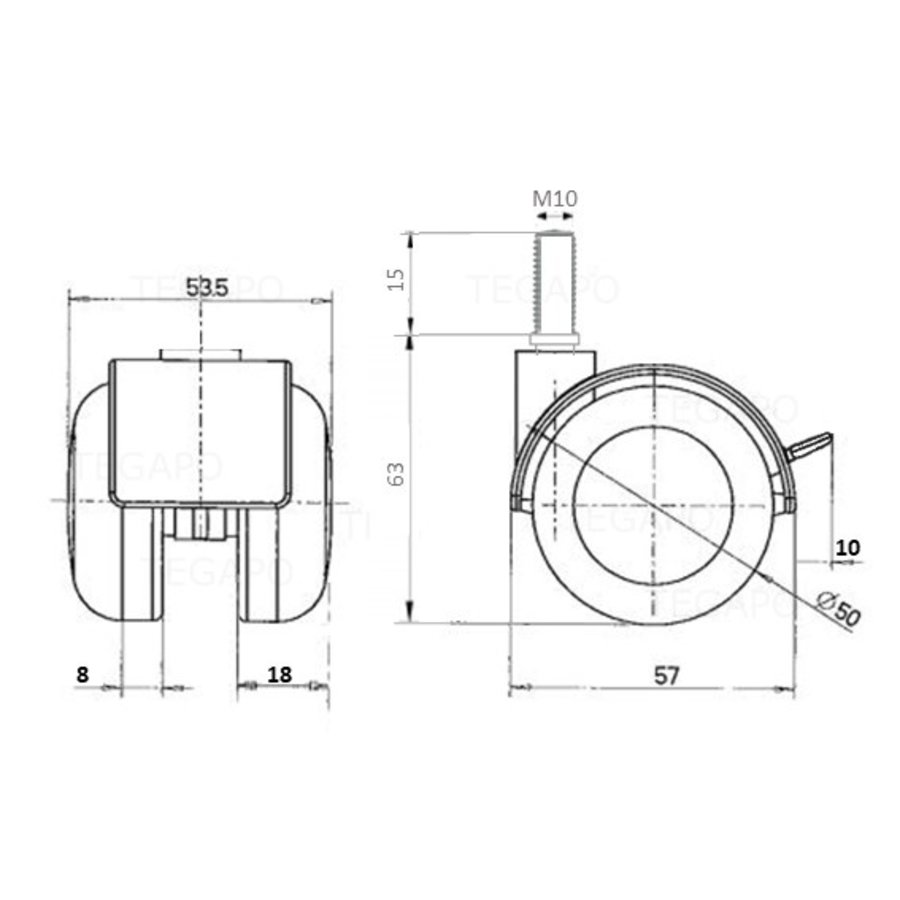 PPTP chrome wiel 50mm bout M10x15 met rem
