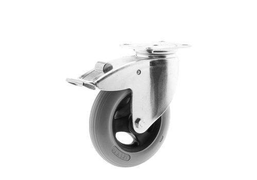 Zwenkwiel unilast rubber 125 3KS plaat met rem