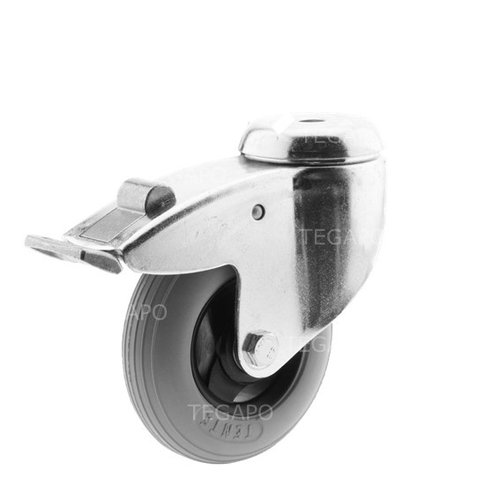 Zwenkwiel unilast rubber 100 3KS boutgat met rem