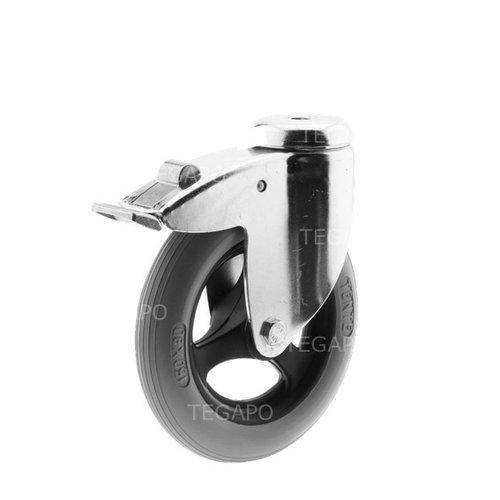 Zwenkwiel unilast rubber 150 3KS boutgat met rem