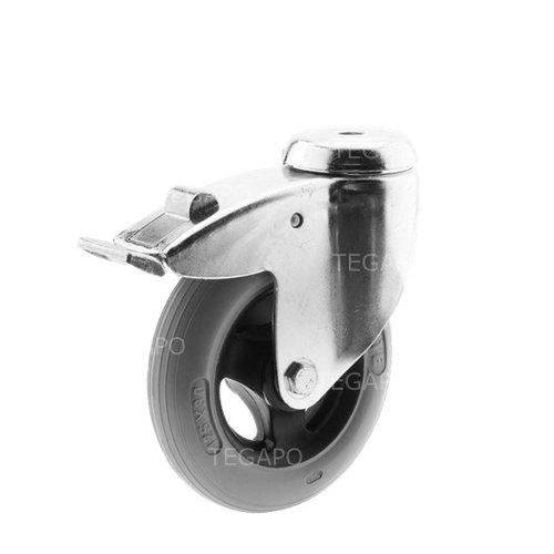 Zwenkwiel unilast rubber 125 3KS boutgat met rem