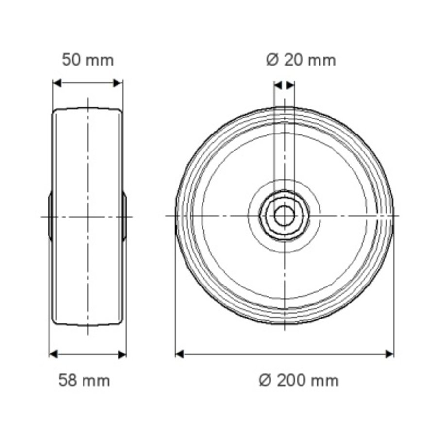 Luchtband zwart 200mm stalen velg asgat 20mm 4PR