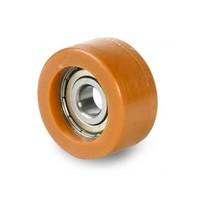 Geleidewiel polyurethaan 50x18mm asgat 10mm