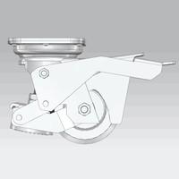 Hef zwenkwiel RVS met stelvoet nylon 80mm