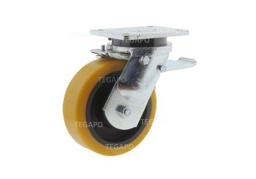 Zwenkwiel polyurethaan Xtreme 160 6GO plaat met rem