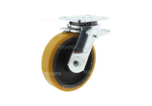 Zwenkwiel polyurethaan Xtreme 250 6GO plaat met rem