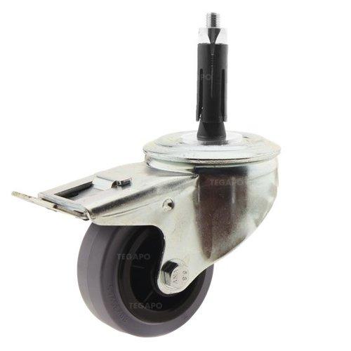 Zwenkwiel rubber 80 indoor ronde buis 21,5-24mm met rem