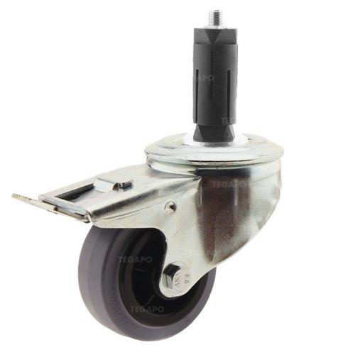 Zwenkwiel rubber 80 indoor ronde buis 27-30mm met rem