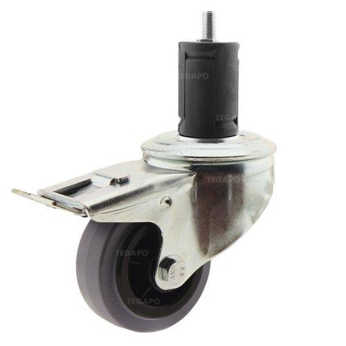 Zwenkwiel rubber 80 indoor ronde buis 40-45mm met rem