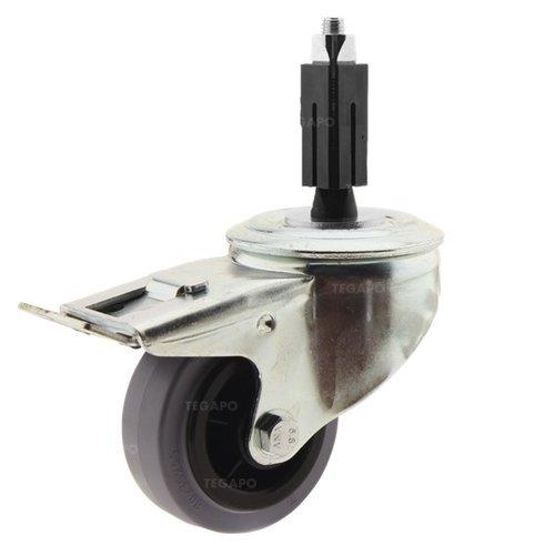Zwenkwiel rubber 80 indoor vierkante koker 24-27mm met rem