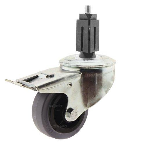 Zwenkwiel rubber 80 indoor vierkante koker 27-30mm met rem