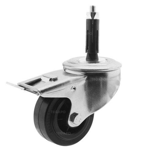 Zwenkwiel rubber 80 3KO ronde buis 19-21,5mm met rem