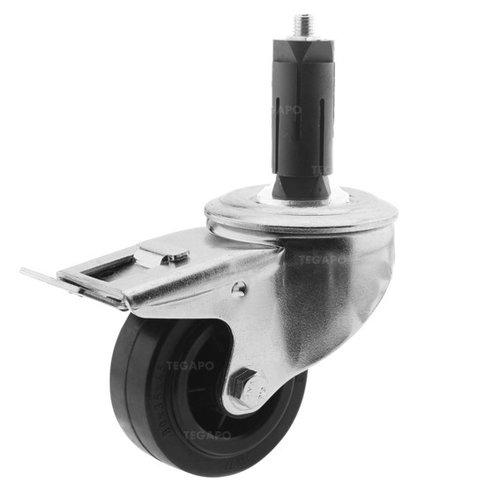 Zwenkwiel rubber 80 3KO ronde buis 27-30mm met rem