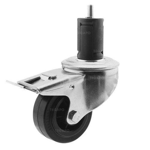 Zwenkwiel rubber 80 3KO ronde buis 36-39mm met rem