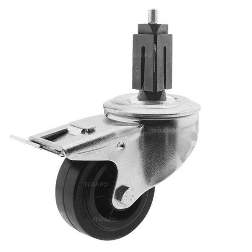 Zwenkwiel rubber 80 3KO vierkante koker 27-30mm met rem