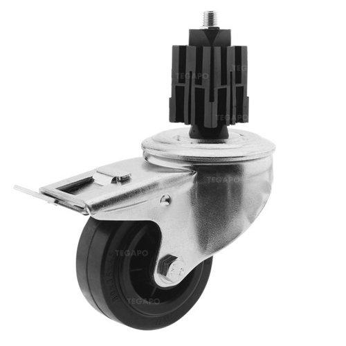 Zwenkwiel rubber 80 3KO vierkante koker 36-40mm met rem