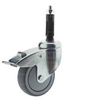 Zwenkwiel 100 verzinkt 2TPKO ronde buis 19-21,5mm met rem