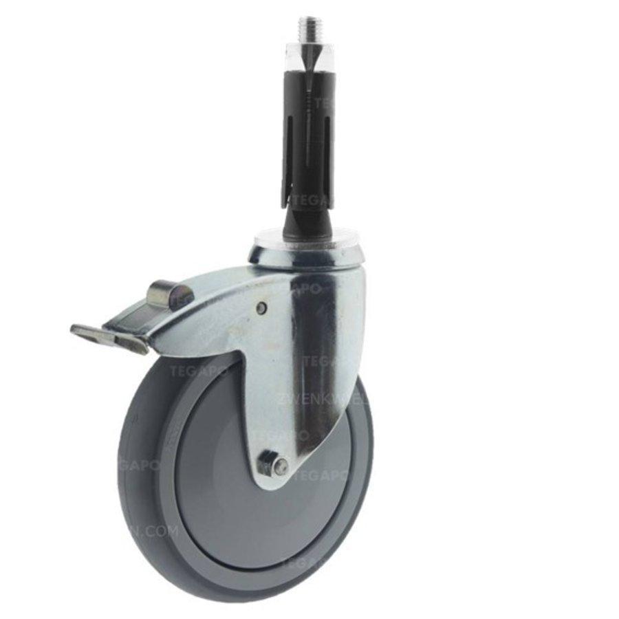 Zwenkwiel 125 verzinkt 2TPKO ronde buis 21,5-24mm met rem