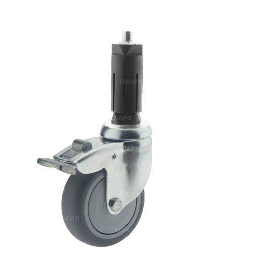 Zwenkwiel 75 verzinkt 2TPKO ronde buis 27-30mm met rem