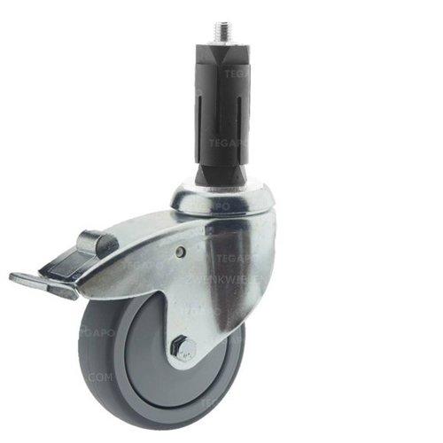 Zwenkwiel 100 verzinkt 2TPKO ronde buis 27-30mm met rem