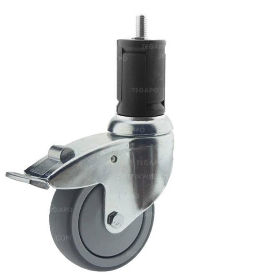 Zwenkwiel 100 verzinkt 2TPKO ronde buis 36-39mm met rem