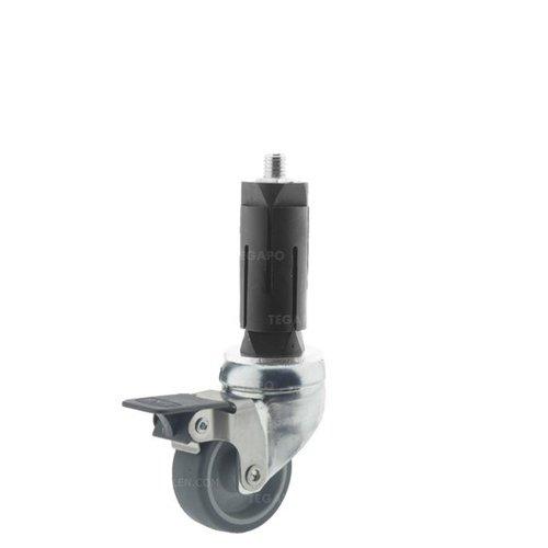 Zwenkwiel 50 verzinkt 2TP ronde buis 27-30mm met rem