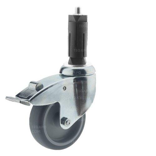 Zwenkwiel 100 verzinkt 2TP ronde buis 27-30mm met rem