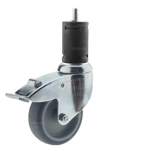 Zwenkwiel 100 verzinkt 2TP ronde buis 40-45mm met rem