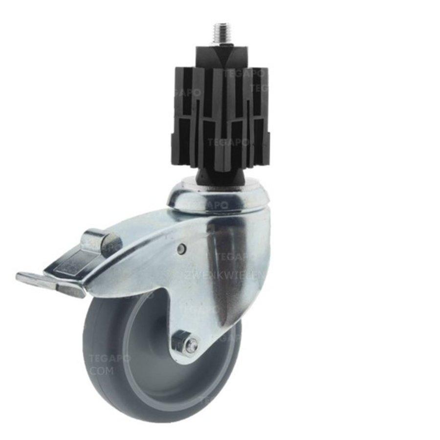 Zwenkwiel 100 verzinkt 2TP vierkante koker 36-40mm met rem