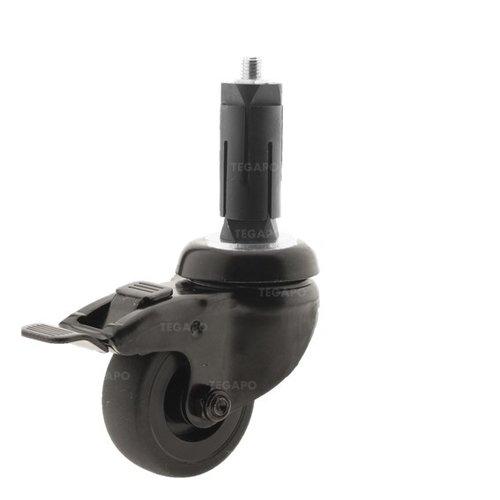 Zwenkwiel 50 black line 2TP ronde buis 27-30mm met rem