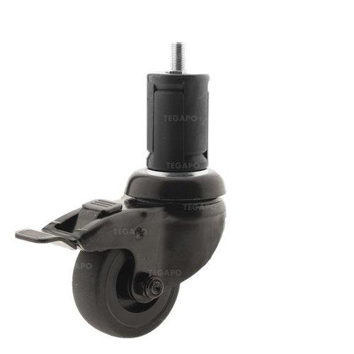Zwenkwiel 50 black line 2TP ronde buis 36-39mm met rem